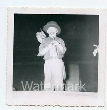 1950s snapshot photo Young Boy in Hobo Halloween costume