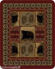 "BEAR NATIVE BEARS PATCHWORK QUEEN 79"" X 96"" NEW SOFT MEDIUM WEIGHT BED BLANKET"