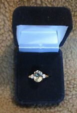 Avon - Genuine Green Amethyst Gold Ring with Diamond Accents - Size 8 - 10 KT