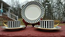 Impressed Bee Hive mark Black striped set of Tea Cups & Plates made in Germany