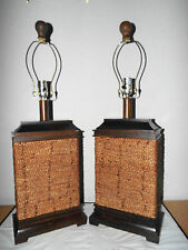LAMPS PAIR HOTEL STYLE 3-WAY WOOD AND ROPE BOXED HOUSE ASIAN THEMED TABLE LAMPS