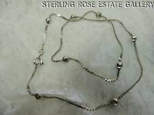 "EIGHT BEADED BALL STERLING SILVER 0.925 ESTATE 16"" FLAT CHAIN NECKLACE"