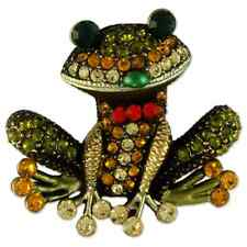 CRYSTAL GOLD PLATED GREEN FROG BROOCH PIN PENDANT MADE WITH SWAROVSKI ELEMENTS