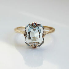"Splendido antico Art DECO 9ct ORO AQUAMARINE RING c1930; UK dimensioni dell'anello ""I"""