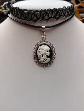 "Gothic Lady skull Black* White Cameo Real Leather CORD & TATTOO 13"" COMBI choker"