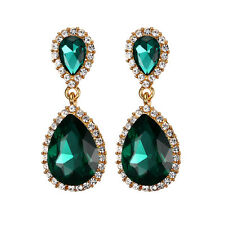 Teardrop Green Emerald CZ Drop/Dangle Earrings White Gold Filled Wedding Jewelry