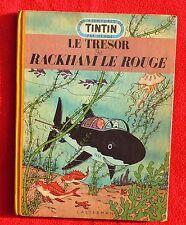 hergé. Le Trésor de Rackham le Rouge. 1952 B6 médaillon bleu, bandeau marron