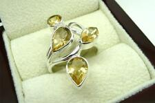 YELLOW CITRINE MULTI STONE 925 STERLING SILVER CLUSTER RING SIZE P1/2 US 8.25
