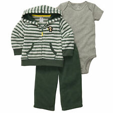 NWT 3-pc Hooded Fleece Jacket, Pants, Short-Sleeve Bodysuit Set Carter's 12M
