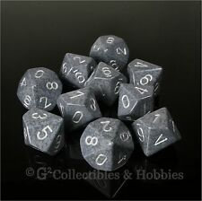 NEW 10 D10 Hi Tech Gray Speckled PRG Dice Set in Tube Ten Sided WoD Gaming D10s