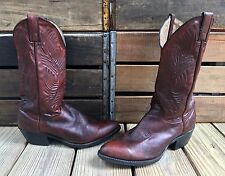 Vintage ABILENE Burnished Cherry Leather Western Cowboy Boots Women's 10D
