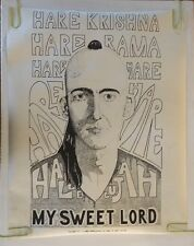 Vintage Poster Hare Krishna Pin-up My Sweet Lord Hallelujah 1970's Rum Punch
