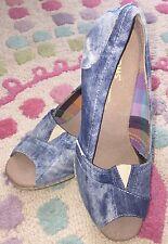 TOMS Acid Wash Blue Denim Canvas Open Peep Toe Wedges Shoes Size W8 Women's