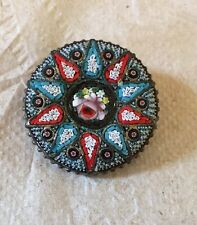 """Vintage 1-1/4"""" Floral Micro Mosaic Brooch or Pin - Made in Italy Beautiful Old"""