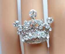 Red Hat Queen Crown Shaped Ring w Clear Crystal Accents / Adjustable Band