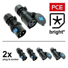 2 x 16 Amp PCE IP44 Midnight Black Female Socket & Male Plug Connector 16A