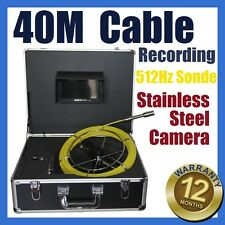 40M Snake Cable UnderWater Sewer Drain Pipe Recording Camera 512HZ Locator Sonde