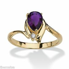 WOMENS 18K GOLD PLATED PEAR SHAPED AMETHYST RING SIZE 5,6,7,8,9,10 FREE SHIPPING