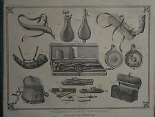 1863 PRINT ~ ACCESSORIES SHOT GUN & RIFLE CARIOUS EQUIPMENT