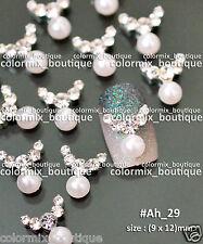 10pcs Nail Art Deco(9 x 12)mm White Pearl Alloy Jewelry Glitter Rhinestone#Ah_29