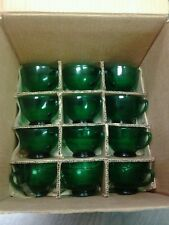 VINTAGE GREEN GLASS 14 PIECE PUNCH SET BY ANCHORGLASS