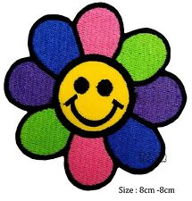 Smiley face flower iron on patch badge colour rainbow fine badge  # 122