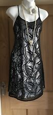 Vintage 20s style black Silver Sparkle  Flapper Gatsby Charleston Goth dress 10