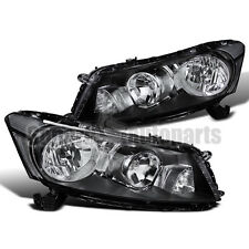 For 2008-2012 Honda Accord 4dr Diamond Headlights Head Lamps JDM Black
