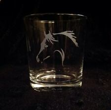 HORSE HEAD ETCHED WHISKEY TUMBLER GLASS GIFT PRESENT THOROUGH BRED COB ARAB PONY