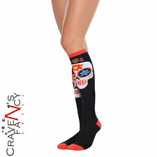 Sugar Skull Knee High Socks Day of the Dead Halloween Ladies Fancy Dress New