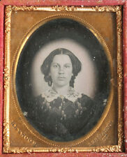 DAGUERREOTYPE HALO PORTRAIT OF WOMAN, MAKER STAMP HEWOOD. 1/9 PLATE FULL CASE.