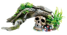 Wood Arch with Plants & Human Skull Aquarium Ornament Fish Tank Decoration 3081