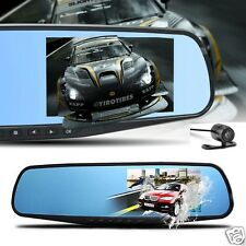 "HD 1080P In-Car Rear View Mirror 3.5"" Monitor Dash Cam Recorder Camera Dual lens"