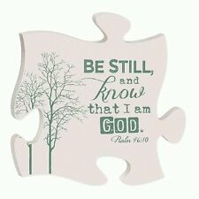 """PUZZLE PIECE BE STILL AND KNOW I AM GOD Wooden Interlocking Wall Sign, 12"""" x 12"""""""