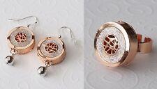NEU 54mm OHRHÄNGER + RING farbe silber/rosegold OHRRINGE Schmuckset FINGERRING