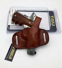 1911 & Browning Hi-Power | Tagua Mini Thumb Break Belt Holster Brown Leather RH