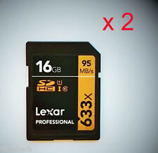 2 x LEXAR 16gb SD SDHC uhs-1 Class 10 95mb/s 16gb professionale schede SDHC * NUOVO * sparpack