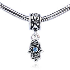 Retro Silver Eyes Palm Blue CZ Dangle Charm Bead Fit Bracelet Necklace