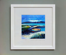 FRASER MILNE 'BEACHED BOAT ISLE OF BARRA' FRAMED SIGNED PRINT