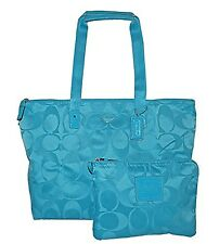 COACH NYLON PACKABLE WEEKENDER Overnight Getaway Bag TRAVEL TOTE Duffle F 77321