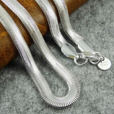 "Mens 925 Silver Plated SS Snake Chain Necklace 6mm width 24"" inch great gift"