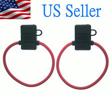 2 PACK 10 GAUGE ATC FUSE HOLDER IN-LINE AWG WIRE COPPER 12 VOLT POWER BLADE