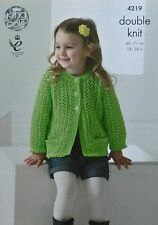 KNITTING PATTERN Childrens Long Sleeve Picot Cardigan Pockets DK King Cole 4219
