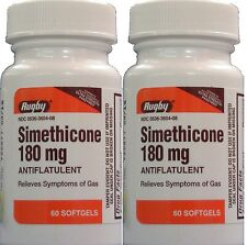 Simethicone 180 mg Gas Relief Generic for Phazyme 60 Gelcaps per Bottle 2 Pack