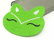 New Cute Cat Embroidered Applique Iron On Sew On Patch Cloth Green