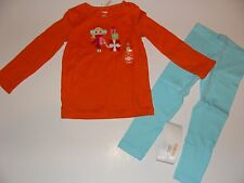 Gymboree Holiday Cozy Cutie Girls Size 5 Orange Shirt Top Blue Leggings NWT NEW