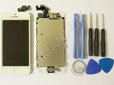 For Apple iPhone 5 LCD White Replacement Digitizer Screen Home button + Camera