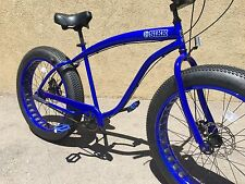 NEW CHROME BLUE Sikk 3 SPEED��Fat Tire Beach Cruiser Bike �� CUTOUT RIMS- #1