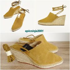 ZARA NATURAL COLOUR SUEDE LEATHER TIED WEDGE SANDAL SHOES Size UK 5 EU 38