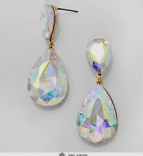 "2"" Aurora Borealis AB Austrian Crystal Pageant Bridal Earrings Formal Gold"